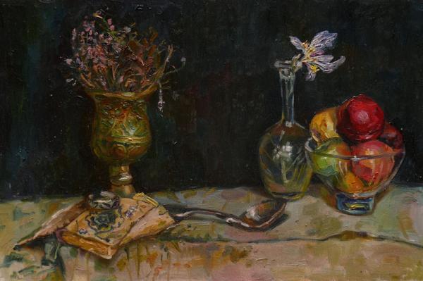 Ксения Баранова. Натюрморт. 2009 г. Холст на картоне, масло. 25х40