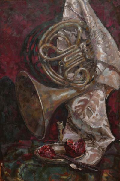 Ксения Баранова. Натюрморт с трубой. 2009 г. Холст, масло. 60х40
