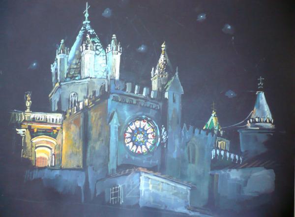 Ксения Баранова. Эвора ночью. 2009 г. Бумага, акварель. 50х60