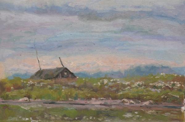 Ксения Баранова. Карельский пейзаж. 2009 г. Холст на картоне, масло. 20х30