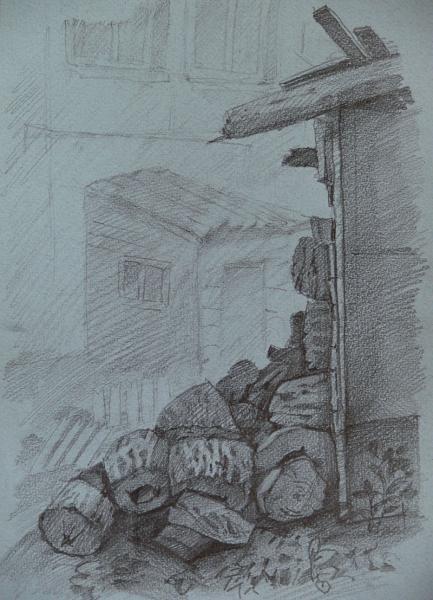 Ксения Баранова. Дрова. 2007 г. Бумага, карандаш. 30х20