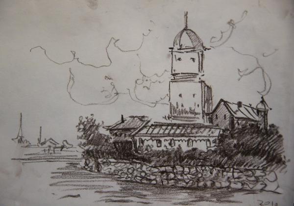 Ксения Баранова. Питерские зарисовки. 2010г. Бумага, сангина. 20х30