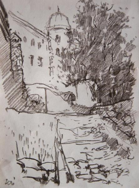 Ксения Баранова. Питерские зарисовки. 2010г. Бумага, сангина. 30х20