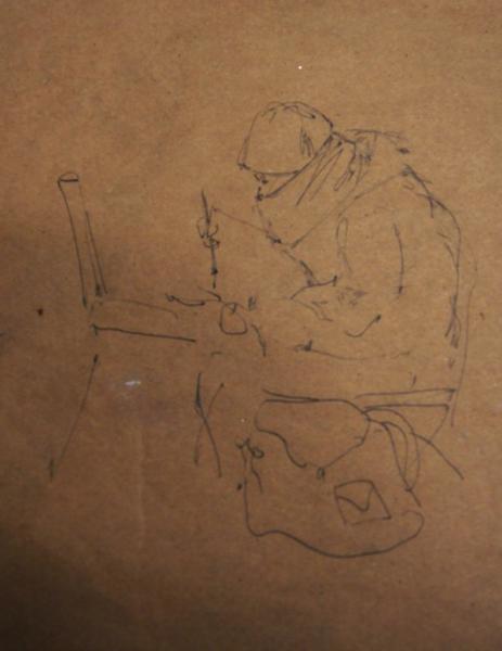 Ксения Баранова. Зимние будни художника, 2010г, бумага, карандаш, 20х15