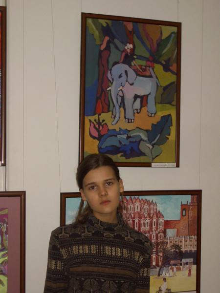 Ксения Баранова. Погонщик слона. 2005г. Бумага, гуашь. 60х50